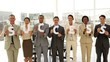 Business people holding letters spelling success