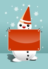 Snowman with Red Sign