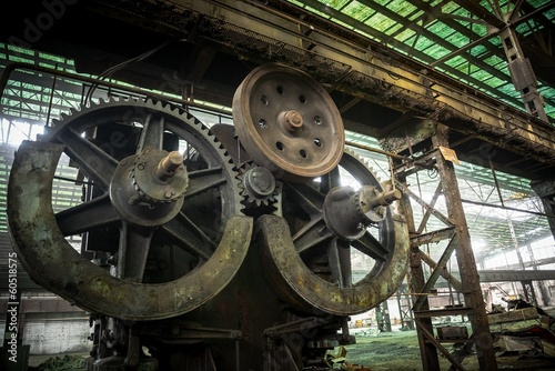 Large industrial hall with cogs