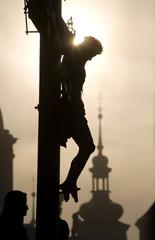 Prague - cross on the charles bridge - silhouette
