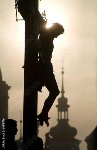 Prague - cross on the charles bridge - silhouette