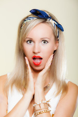 surprised woman, girl retro style open mouth facial expression