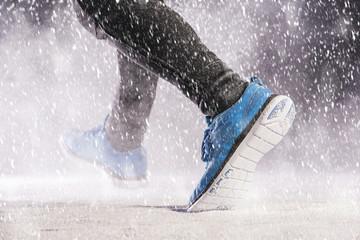 Man running in winter