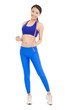 Cheerful woman in fitness wear with tape