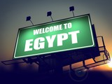 Billboard Welcome to Egypt at Sunrise.