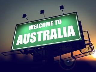 Billboard Welcome to Australia at Sunrise.