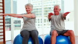 Senior citizens working out