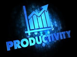 Productivity on Dark Digital Background.