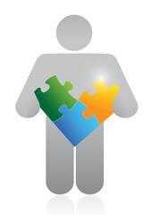 icon holding a puzzle. illustration design