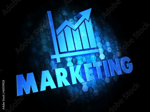 Marketing on Dark Digital Background.