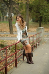 Fashion model in autumn