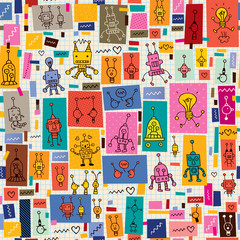 cute robots collage cartoon retro doodle pattern