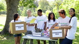 Group of young volunteers sorting donation boxes