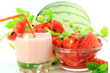 watermelon milkshake with cut and whole watermelon