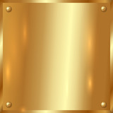 Vector golden plate with screws