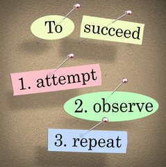 To Succeed Attempt Observe Repeat Quote Saying Bulletin Board
