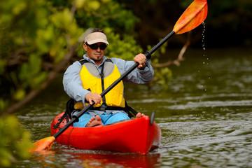 man in kayak in florida