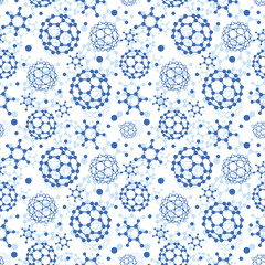 Vector blue molecules texture seamless pattern background in