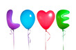 love text shaped color balloons