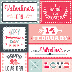 hipster valentines day typographic labels and banners