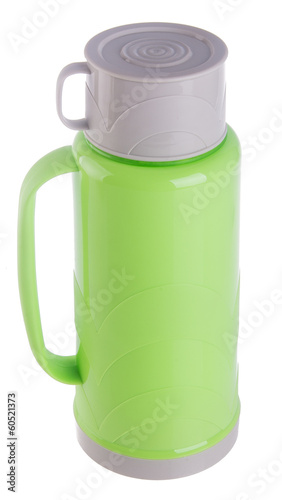 Thermo, Plastic Thermo flask on background.