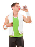 sportsman with towel drinking water from bottle isolated