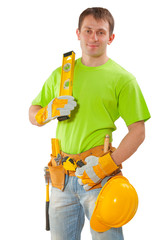 young construction worker holding level isolated white backgroun
