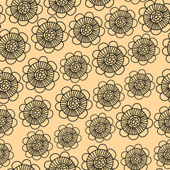 Beige and black subtle flowers seamless pattern, vector