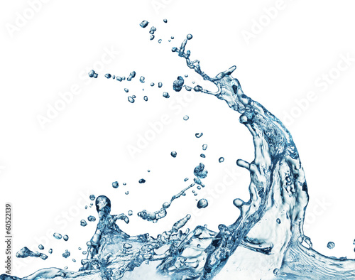 blue water splash isolated