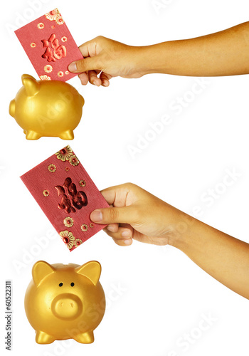 Insert Red Envelope Into Piggy Bank