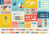 Flat Transportation Infographic Elements plus Icon Set. Vector.