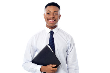 Young businessman holding business file