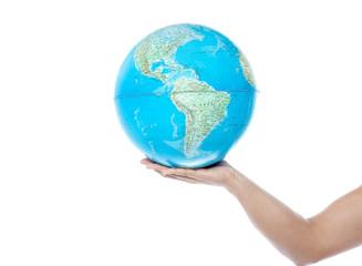 Closeup of man hand holding a globe