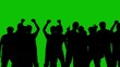 Silhouettes of people on a green background
