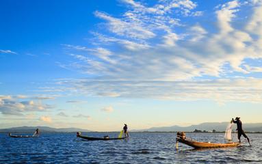 Fishermen in Inle Lake at sunset, Shan State, Myanmar