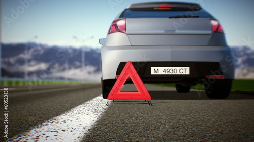 Solving problems.. Car and warning triangle concept