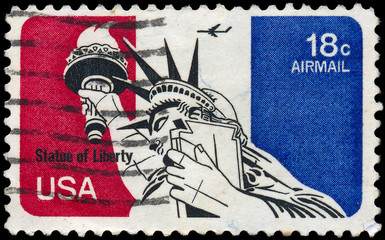 USA - CIRCA 1973: A stamps printed in USA showing Statue of Libe