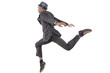 young black businessman leaping / jumping high