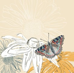 Illustration of beautiful butterflies flying around flower.