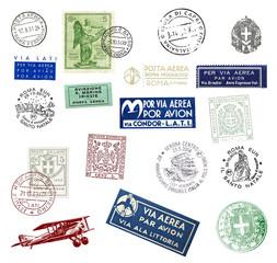 Historische Briefmarken und Poststempel aus Italien