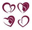 collection of hearts and woman faces