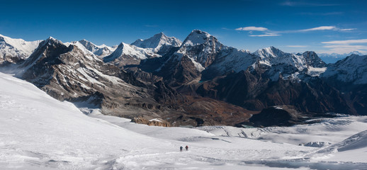 A panoramic view near the summit of Mera Peak