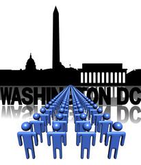 Lines of people with Washington DC skyline illustration