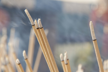 Lighted joss sticks in the temple, close-up