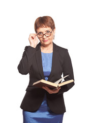 attractive woman in glasses with a book