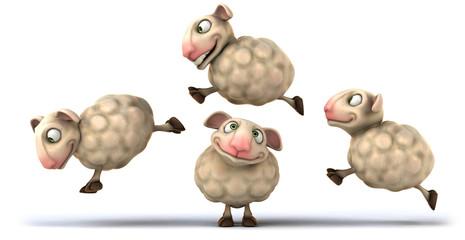 Sheeps jumping