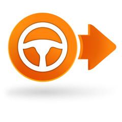 volant de voiture sur symbole web orange
