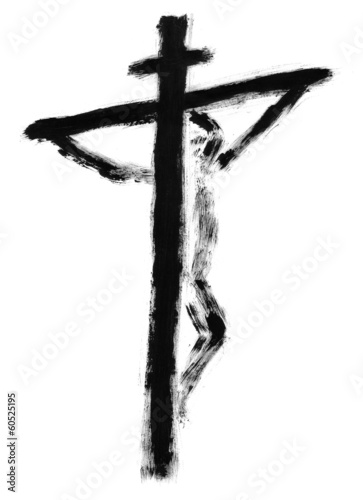 Jesus on the cross drawn with watercolors