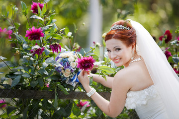 Beautiful lovely red hair young bride having fun.