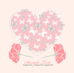 Valentines day card with heart, flowers and butterfly